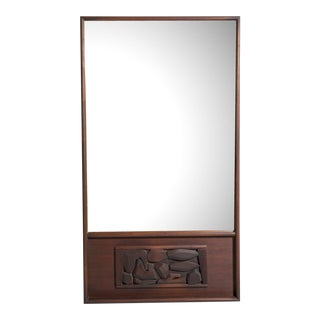 Oversized Mahogany Brutalist Mirror For Sale