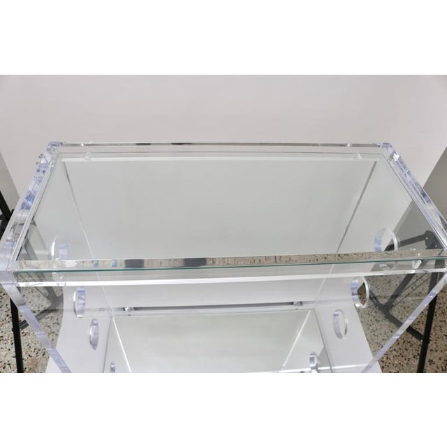 Modern Customizable Rectangular Shaped Bespoke Bar Cart in Lucite and Mirror by Alexander Millen For Sale - Image 3 of 10