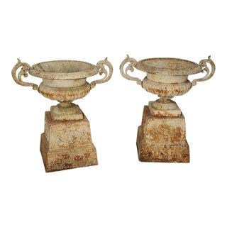 Pair of Antique Cast Iron Vases on Pedestals From Besancon France, Circa 1915 For Sale