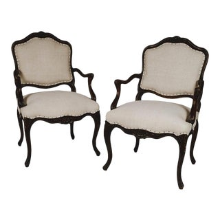Louis XVI Style Carved Walnut Fauteuils Armchairs - a Pair For Sale