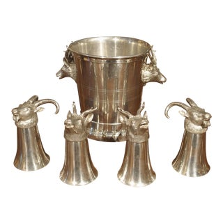 Set of 4 Polished Pewter Stag and Ibex Stirrup Cups With Ice Bucket For Sale