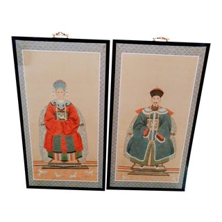 A Pair of Silk Printed Asian Ancestors Wood Wall Decor Hanging Art Work For Sale