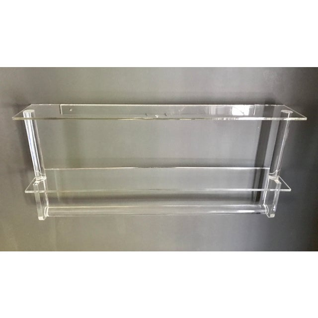 Vintage Lucite Shelves with Towel Bar - Image 2 of 4