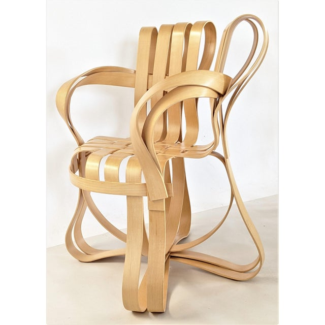 Beige Frank Gehry for Knoll Cross Check Chair Maple Wood With Arms - a Pair For Sale - Image 8 of 13