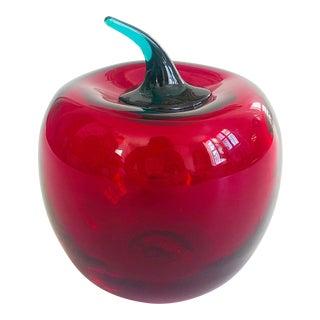 Vintage Signed Blenko Art Glass Apple For Sale