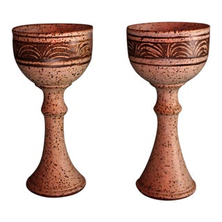 Vintage Studio Pottery Wine Chalices - A Pair For Sale