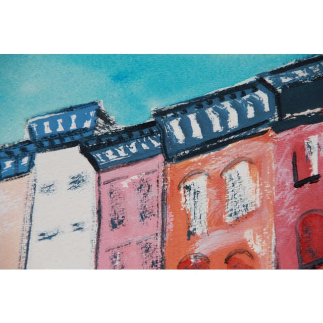 """""""Greenwich Village #2"""" Gouache Cityscape by Cleo - Image 3 of 4"""