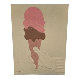 1970s Vintage Ron Brejtfus & Susan Caffrey Double Dip Ice Cream Cone Textile Wall Art For Sale
