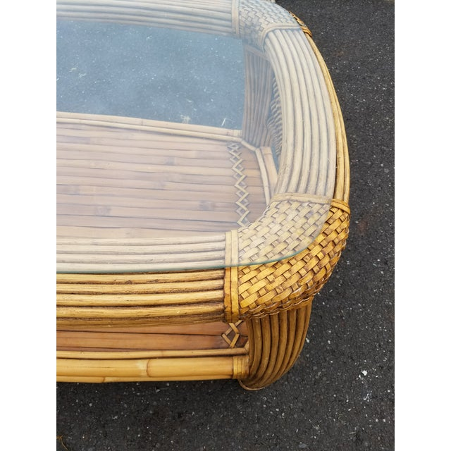 1970s Mid Century Pencil Reed and Rattan Bamboo Glass Top Coffee Table For Sale - Image 5 of 8