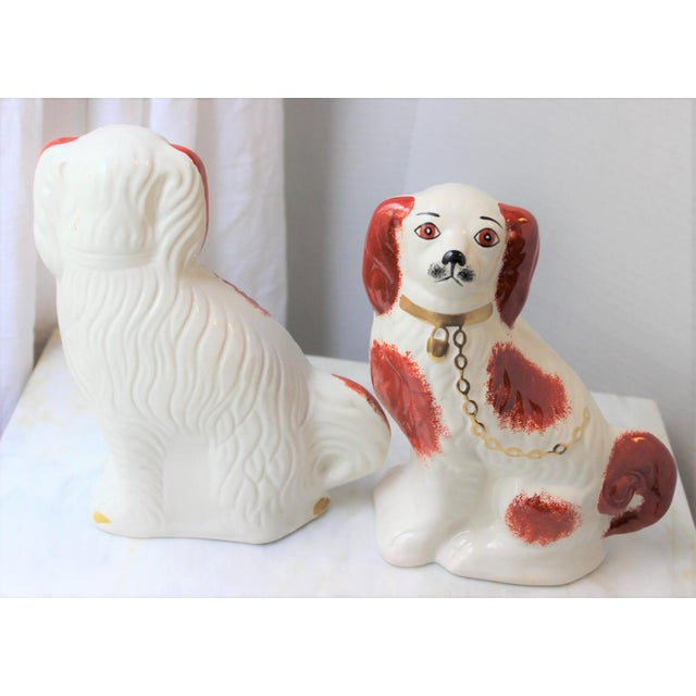 1950s Figurative Staffordshire Ceramic Spaniels Dogs - a Pair For Sale In Los Angeles - Image 6 of 13