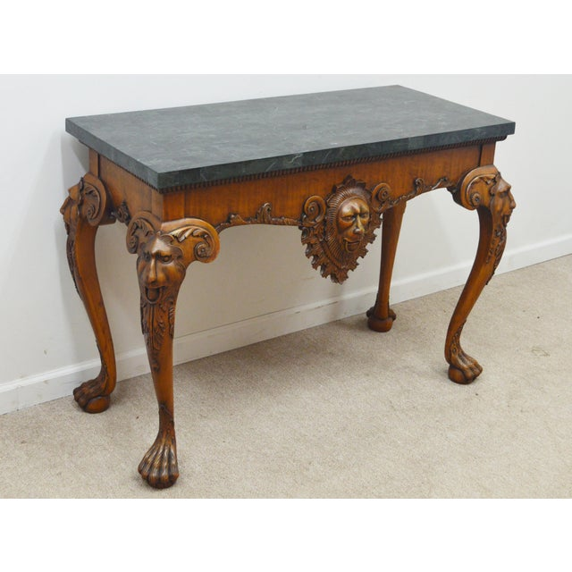 Chippendale Maitland Smith Carved Lion Head Console Table For Sale - Image 3 of 13