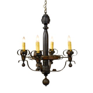 Arts and Crafts Wood and Brass Five Arm Chandelier For Sale