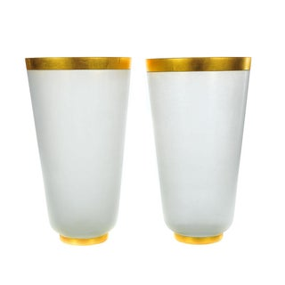 Archimede Seguso-1960s Frost Glass Vases - A Pair