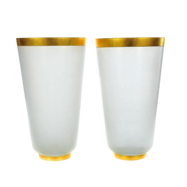 Archimede Seguso-1960s Frost Glass Vases - A Pair - Image 1 of 5