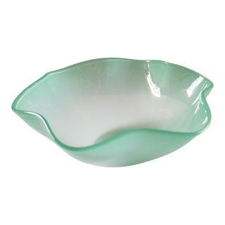1960s Sven Palmqvist Opalescent Light Green Art Glass Bowl For Sale