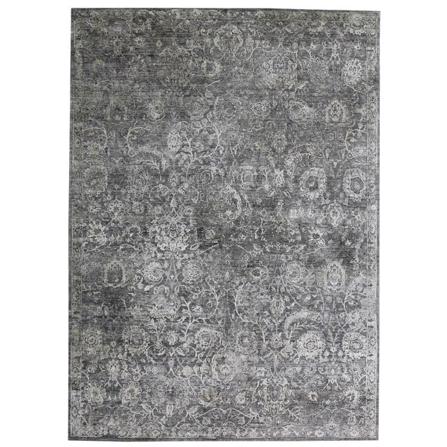 Bryant Gray/Charcoal hand knotted Wool/Viscose/Cotton Rug - 8'x10' For Sale