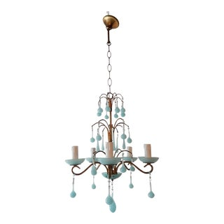 1930 French Blue Opaline Bobeches and Drops Chandelier For Sale