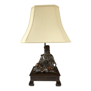Frederick Cooper Inspired Asian Figure Table Lamp on Dark Stained Wood Base & Lined Shade For Sale