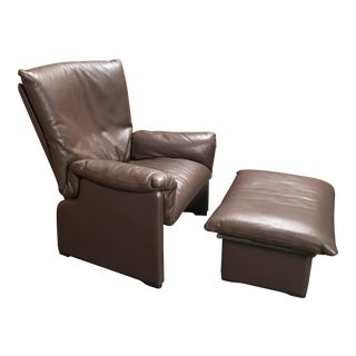 "Late 20th Century Cassina ""Palmaria"" Leather Chair and Ottoman For Sale"