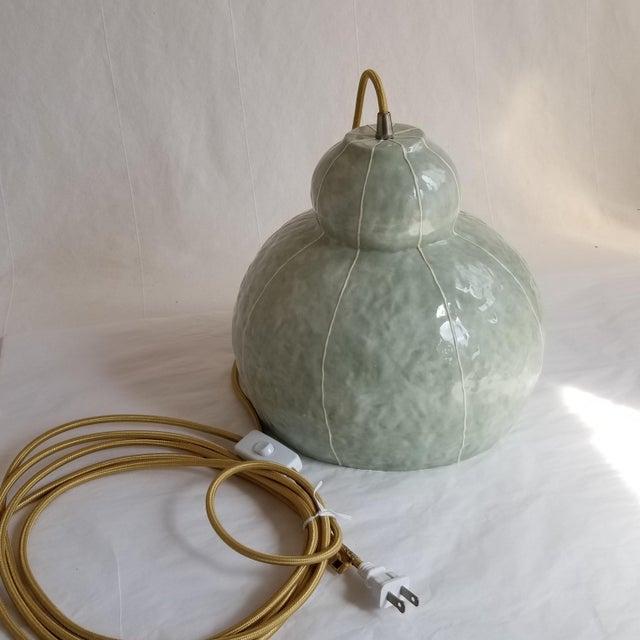 Modern Handmade Celadon Ceramic Pendant Light For Sale - Image 4 of 7