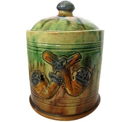 French Majolica Tobacco Jar with Pipes For Sale