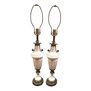 Neoclassical Fluted Lamps - a Pair For Sale