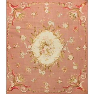 "Antique French Aubusson Rug Circa 1890 - 4'11"" X 5'6"" For Sale"