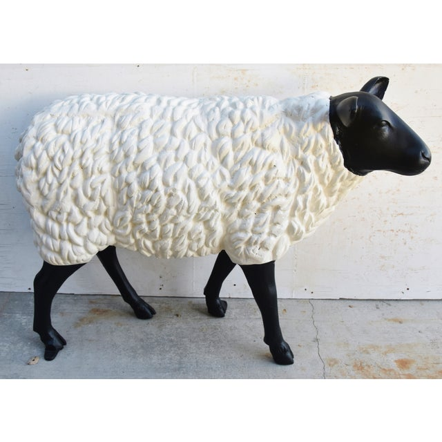 Vintage Metal Life-Size Sheep Lamb Garden, Patio, Lawn or House Statue For Sale - Image 11 of 13