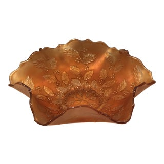 Vintage Iridescent Burnt Orange Fenton Holly Center Bowl For Sale