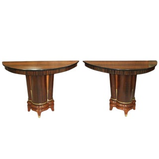 Beautiful French Art Deco Exotic Macassar Ebony Console Tables Circa 1940s - A Pair For Sale