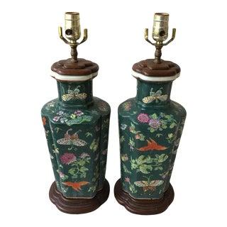 1970s Asian Green Ceramic Ginger Jar Lamps - a Pair For Sale