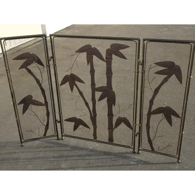 Vintage French Country Black Fireplace Screen with Bamboo Leaves Limbs For Sale - Image 11 of 12