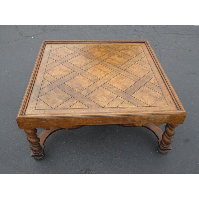 Vintage French Country Barley Twist Coffee Table By Baker