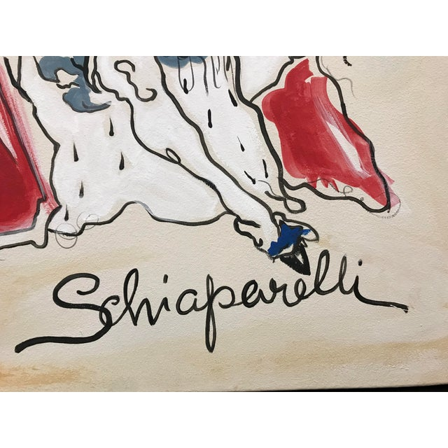 Acrylic hand painted painting on canvas depicting Elsa Schiaparelli Le Roy Soleil fragrance advertising from a 1940s...