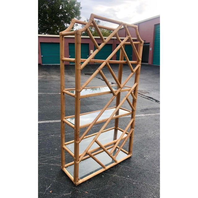 Boho Chic Vintage Tall Bamboo Etagere For Sale - Image 3 of 10