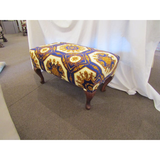 1990s 1990s Contemporary Colorful Upholstered Ottoman with Carved Cabriole Legs For Sale - Image 5 of 5