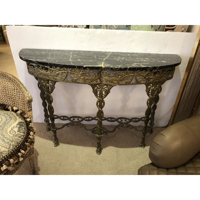 Italian Cast Relief Brass and Black Verdigris Marble Demilune Console For Sale - Image 10 of 10
