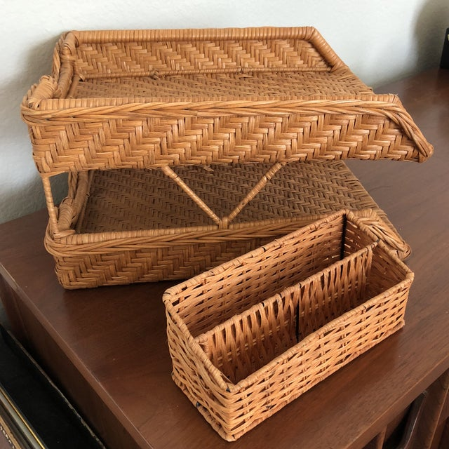 Boho Chic Wicker Desk Set - 2 Pieces For Sale In Dallas - Image 6 of 7