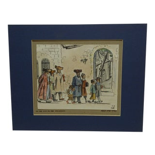 "Vintage Matted ""On the Way to the Synagogue"" Judaic Print"