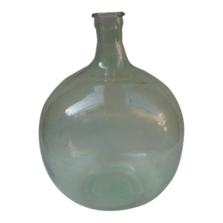 Vintage Green Glass Demijohn Bottle