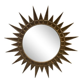 Gilt Metal Starburst Mirror For Sale