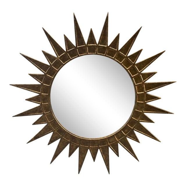 Gilt Metal Starburst Mirror For Sale