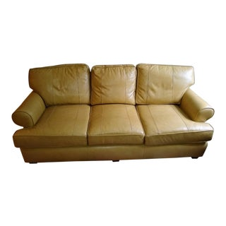 "Modern Arhaus ""Hadley"" Camel Leather Sofa For Sale"