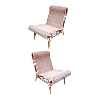 Abraham and Rol Rarest Documented Pair of Rattan Slipper Chairs. For Sale
