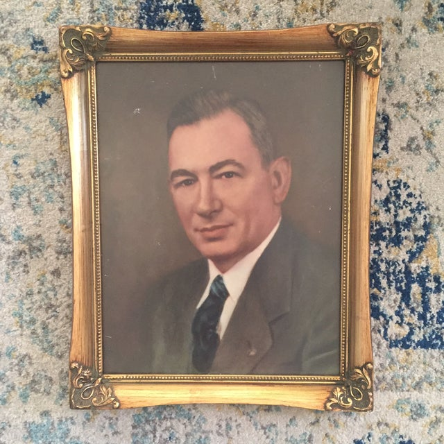 Vintage Framed Portrait Painting of Business Man - Image 2 of 11