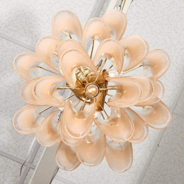 """Peach Murano Glass """"Selle"""" Chandeliers - a Pair For Sale - Image 9 of 10"""