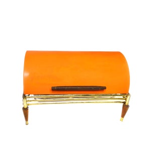 Vintage Mid Century Modern Orange Roll Top Chafing Dish/Buffet Warmer For Sale