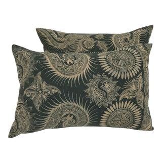 Asian Serpent Gray Batik Pillows - A Pair For Sale