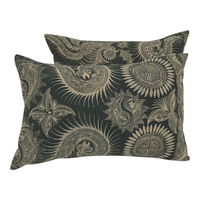 Asian Serpent Gray Batik Pillows - A Pair - Image 1 of 11