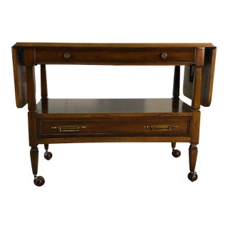 Vintage 1960s Mahogany Wood Rolling Serving Cart For Sale